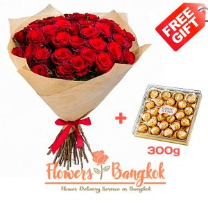 50 Red Roses + Ferrero Rocher (gift) - Flower delivery in Bangkok