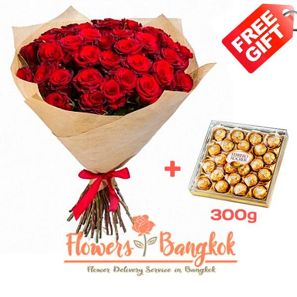 50 Red Roses + Ferrero Rocher (gift) - Flower delivery in Bangkok