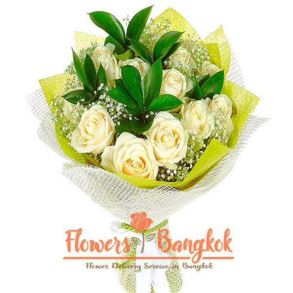Flowers-Bangkok -12 White Roses Bouquet