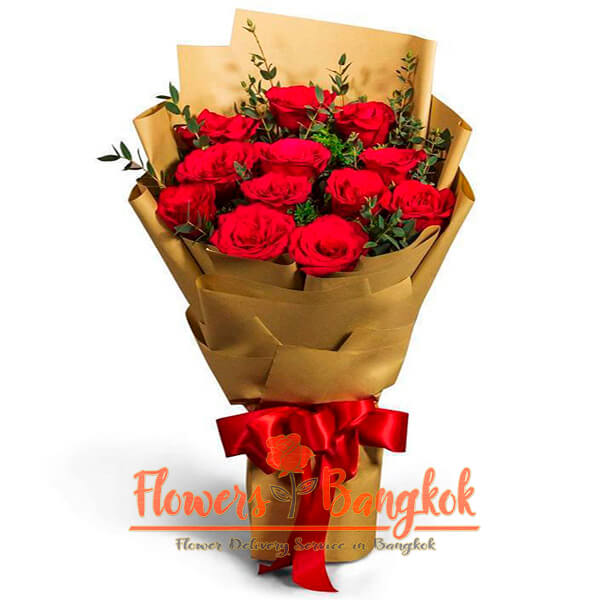 Flowers-Bangkok - 12 red roses bouquet