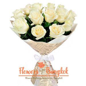 Flowers-Bangkok - 15 white roses