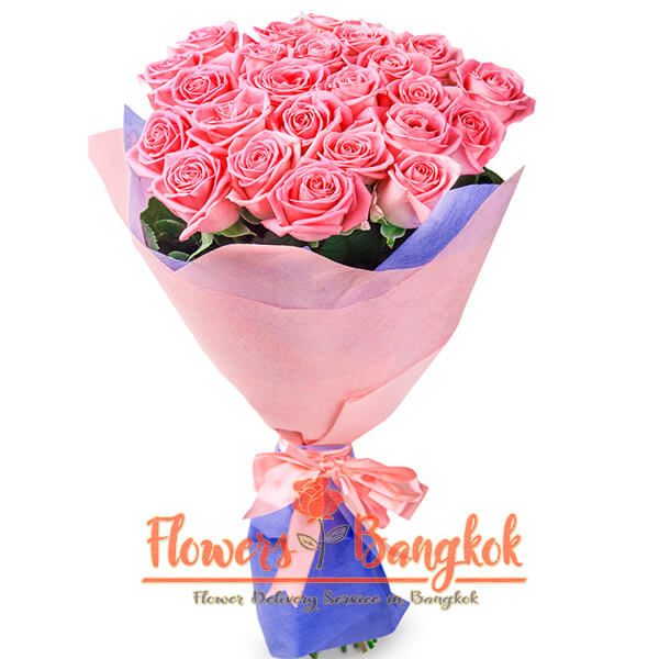 Flowers-Bangkok - 25 pink roses