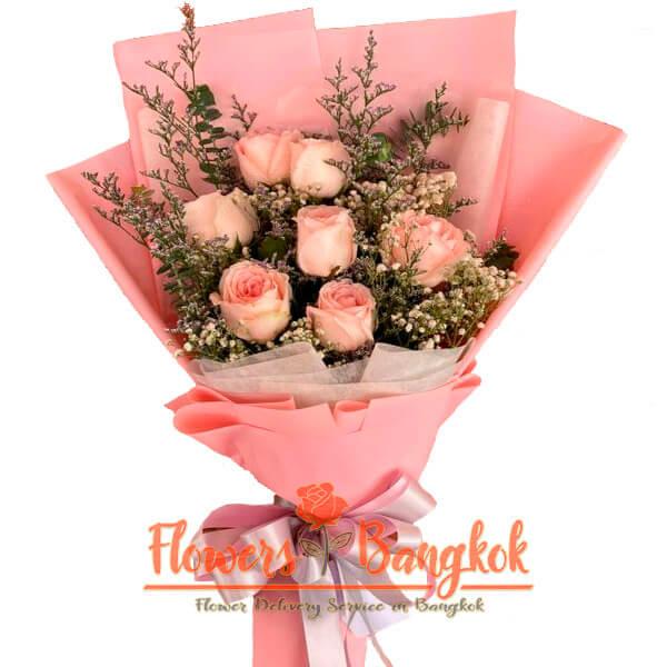 Flowers-Bangkok - 7 Pink Roses bouquet