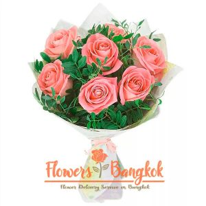 Flowers-Bangkok - 7 pink roses new
