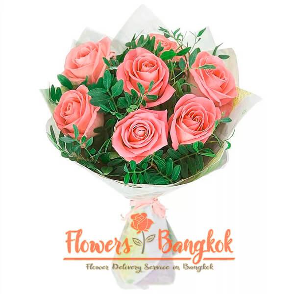 Flowers-Bangkok - 7 pink roses new