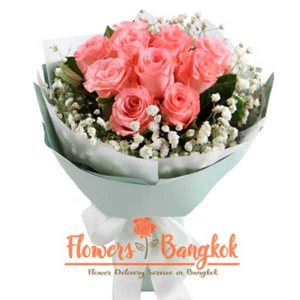 Flowers-Bangkok - 9 Pink Roses