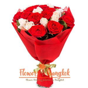 Flowers-Bangkok - mixed bouquet from 25 roses