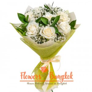 Flowers-Bangkok - 7 White Roses Bouquet