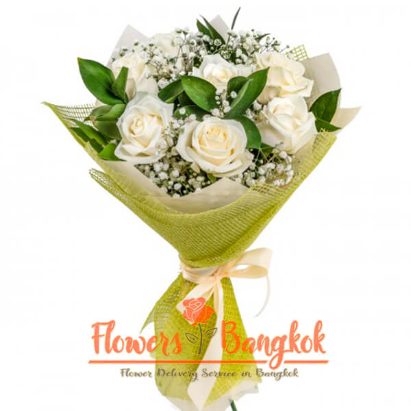 Flowers-Bangkok - 7 White Roses Bouquet