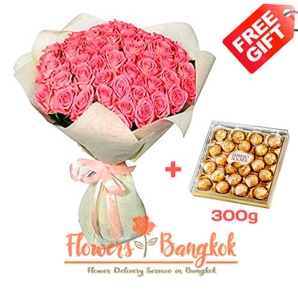 50 Pink Roses + Ferrero Rocher (gift) - Flower delivery in Bangkok
