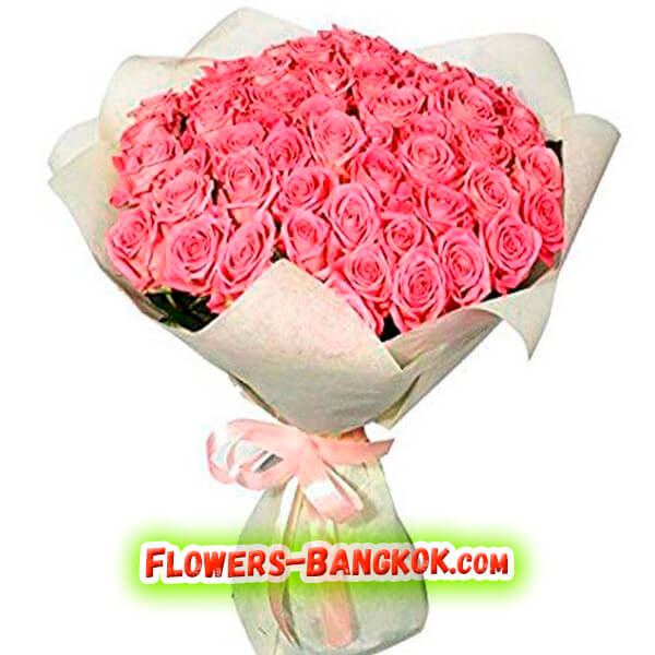 50 Pink Roses - Flowers-Bangkok
