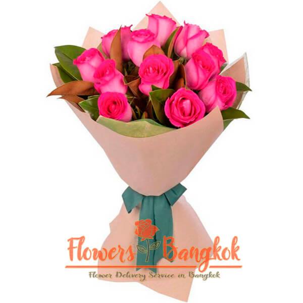 Flowers-Bangkok - 12 hot pink roses new