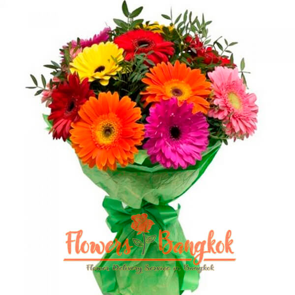Flowers-Bangkok - 12 mixed color gerberas