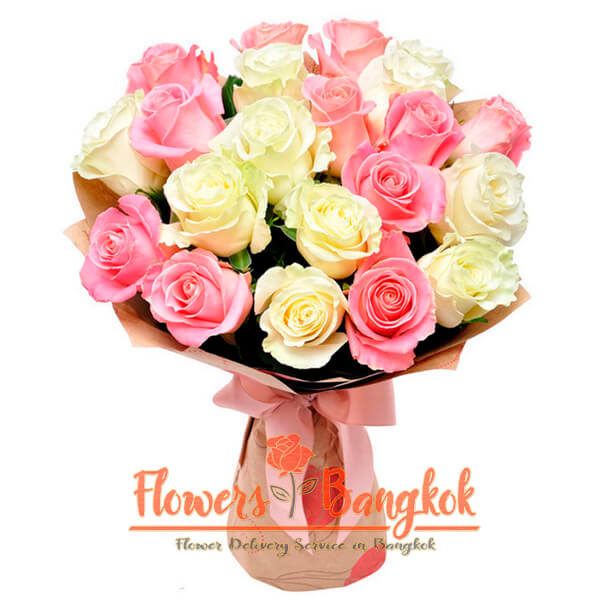 Flowers-Bangkok - 21 pink and white roses