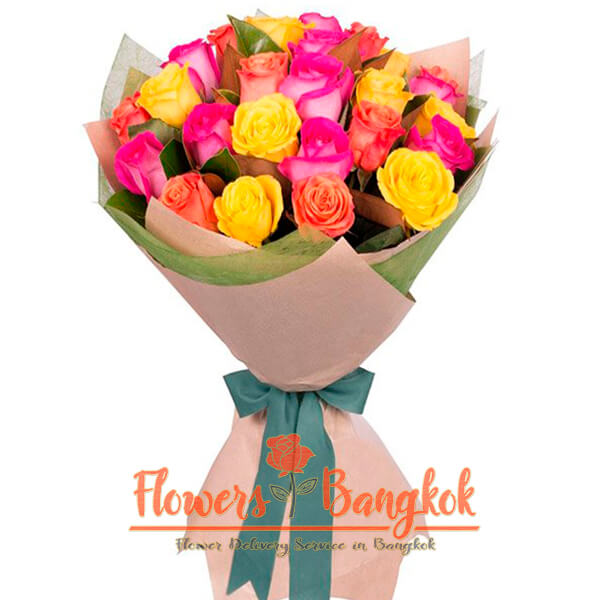 Flowers-Bangkok 24 mixed color roses