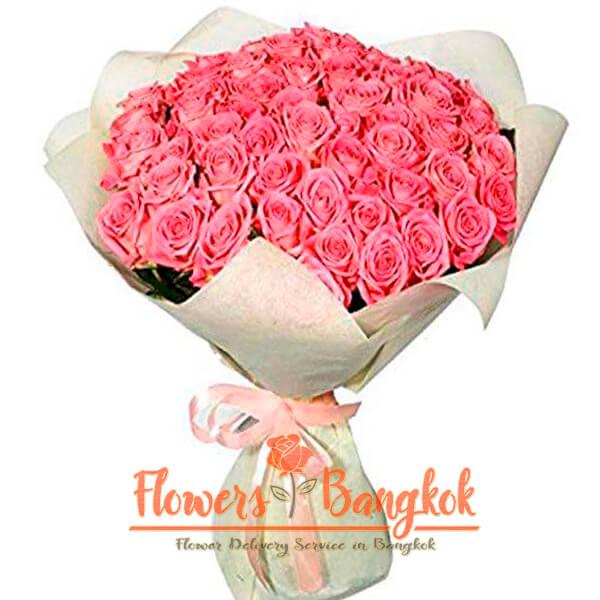 Flowers-Bangkok - 50 pink roses