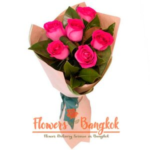 Flowers-Bangkok - 6 hot pink roses new