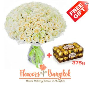 100 White Roses + Ferrero Rocher (gift) - Flower delivery in Bangkok
