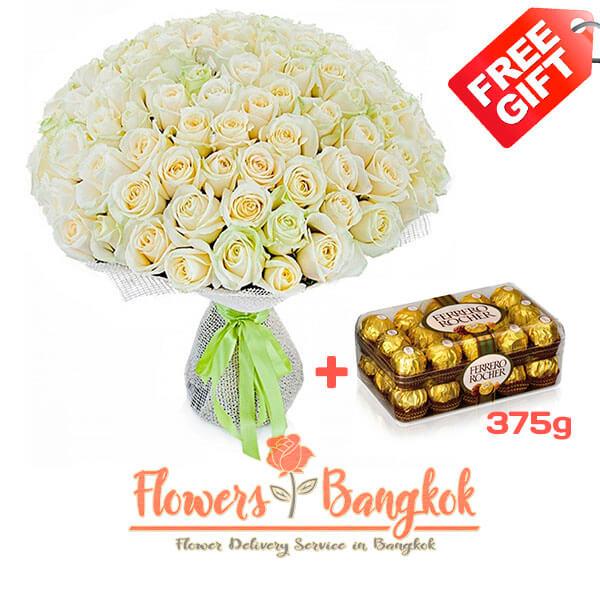 100 White Roses + Ferrero Rocher (gift) - Flower delivery in Bangkok