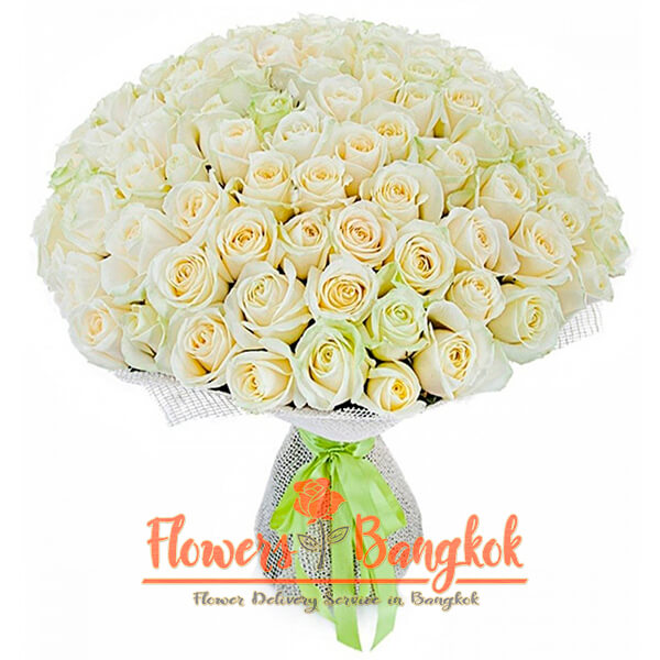 Flowers-Bangkok - 100 white roses new
