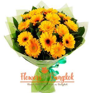 Flowers-Bangkok - 15 yellow gerberas