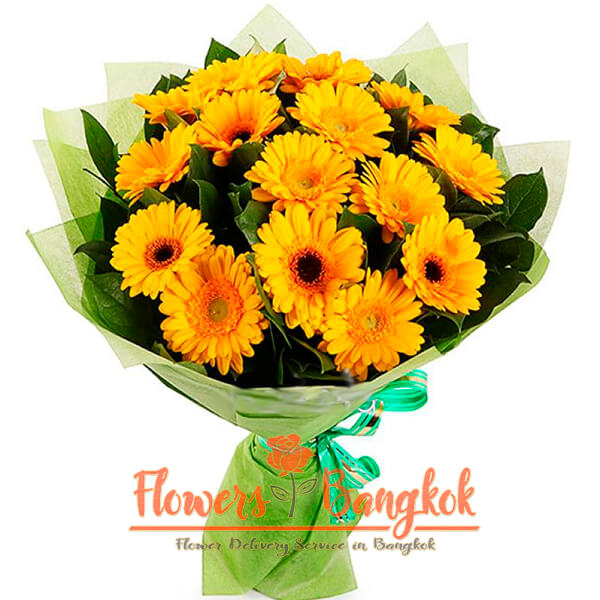 Flowers-Bangkok - 15 yellow gerberas