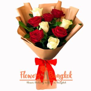 Flowers-Bangkok - 9 Red and White roses new