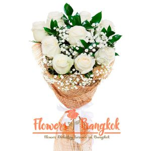 Flowers-Bangkok - 9 White Roses Bouquet new