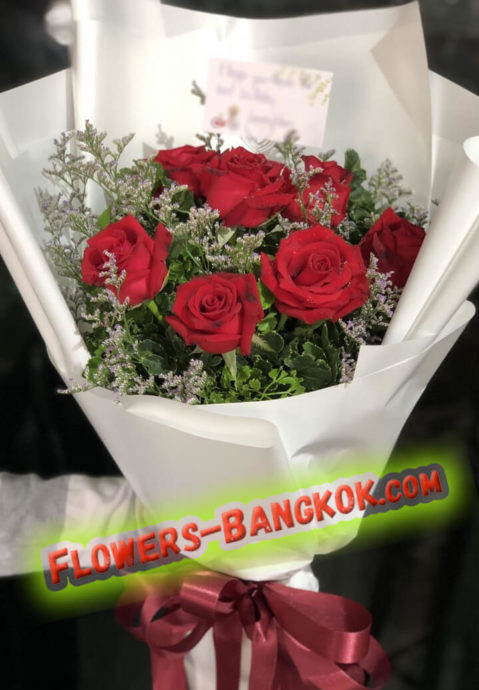 7 Premium Red Roses in White film - Flower Delivery Bangkok
