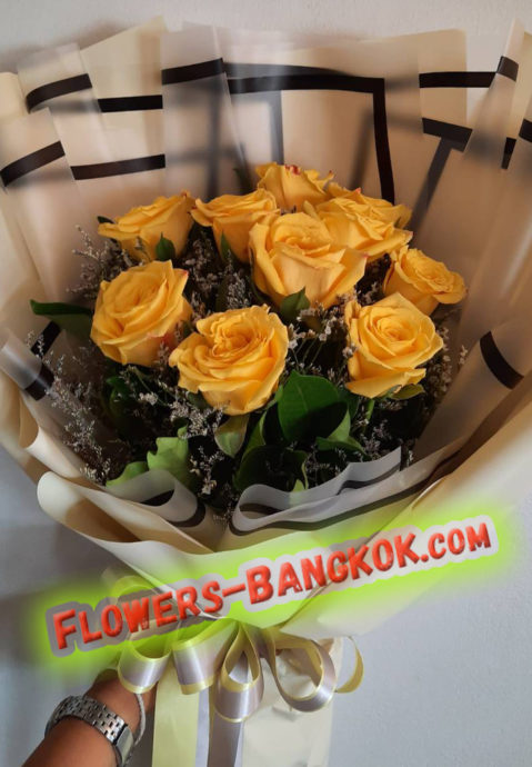10 Premium Yellow Roses - Flower Delivery Bangkok
