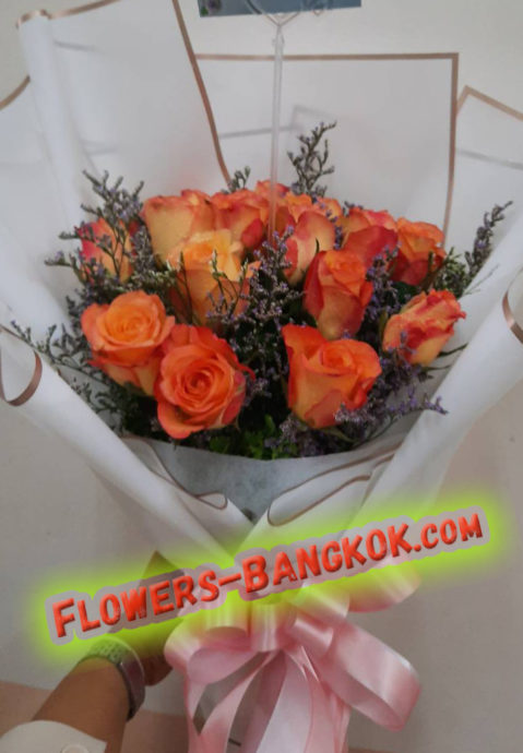 12 premium Orange Roses in white - Flower Delivery Bangkok