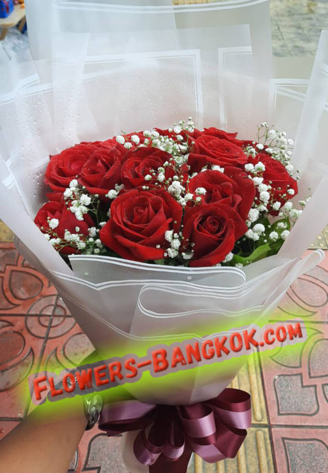12 premium Red Roses - Flower Delivery Service in Bangkok
