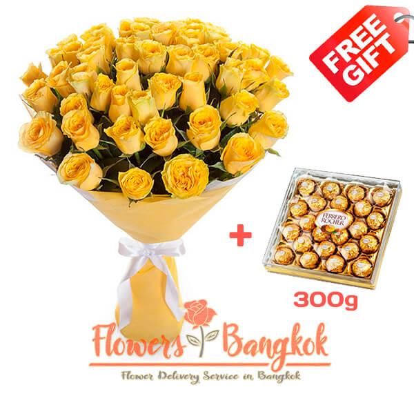 50 Yellow Roses + Ferrero Rocher (gift) - Flower delivery in Bangkok