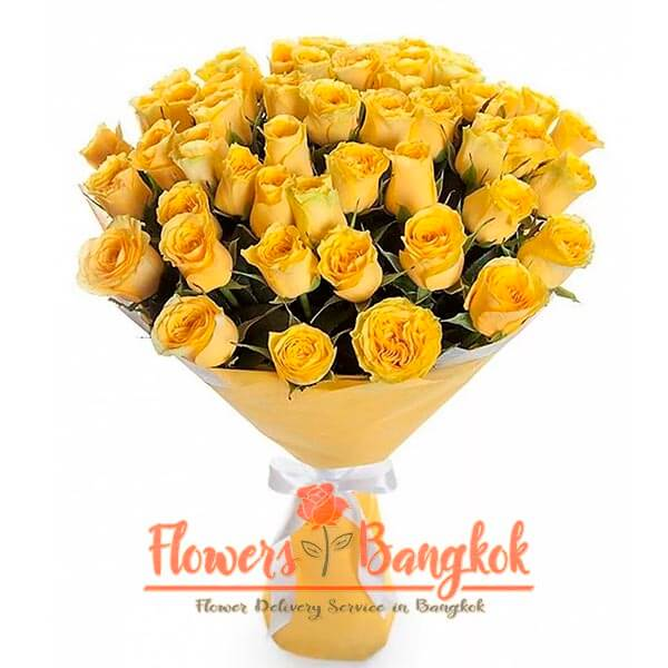 50 Yellow roses - flower delivery Bangkok