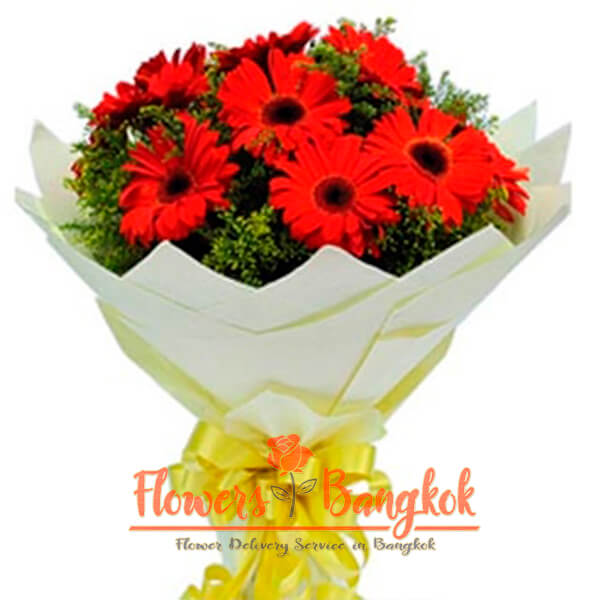 12 Red Gerberas - Flower Delivery Bangkok