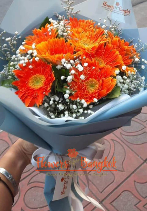 11 Orange Gerberas - Flower Delivery Bangkok