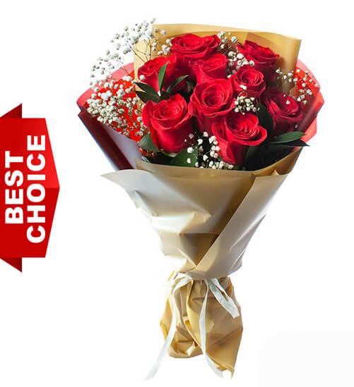9 Red Roses - Special Offer Flower Delivery Bangkok