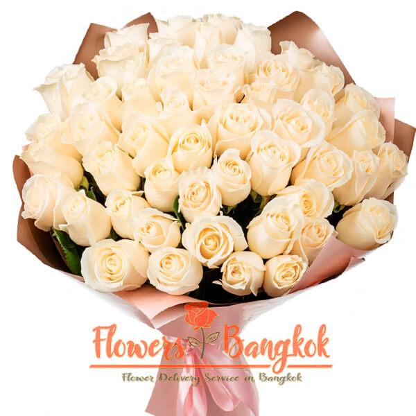 50 White roses - flower delivery Bangkok