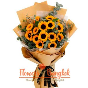 Flower delivery Bangkok - 15 Sunflowers bouquet