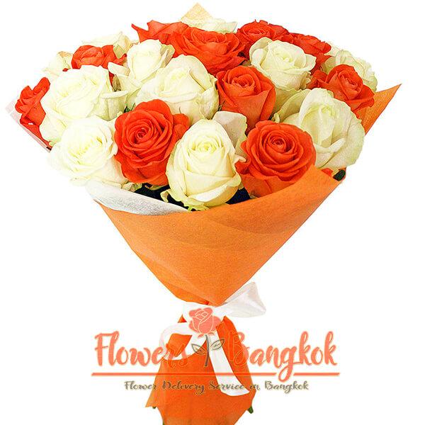 25 Orange and White Roses - Flowers-Bangkok
