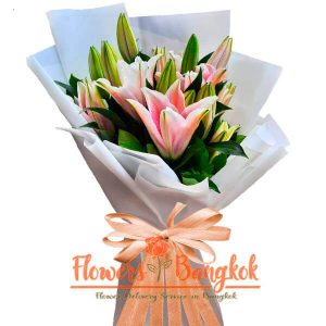 Flower delivery Bangkok - Pink Lilies bouquet