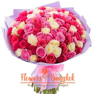 100 Mixed Roses - Flower Delivery Bangkok (Thailand)