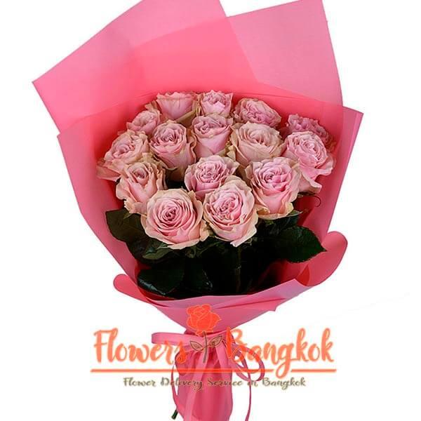 Flower Delivery Bangkok - 15 Pink Roses