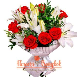 Flowers-Bangkok - Bouquet of 7 Red Roses and White Lilies