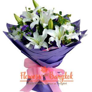 Flowers-Bangkok - White Lilies bouquet