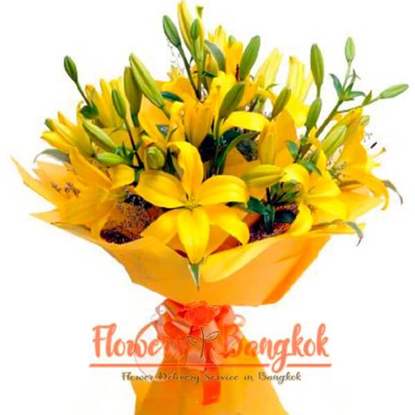 Flowers-Bangkok - Yellow Lilies bouquet