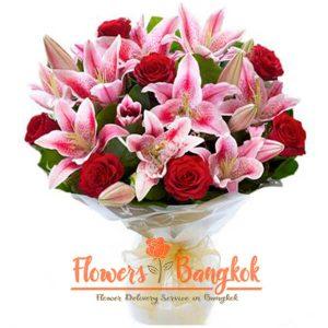 Pink Lilies + Red Roses - Flowers-Bangkok