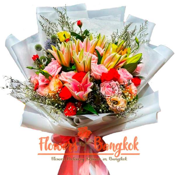 Pink Lilies + roses bouquet - Flowers-Bangkok
