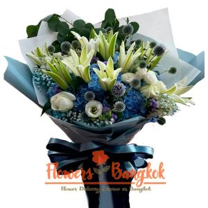 White Lilies and Roses - Flower Delivery Bangkok