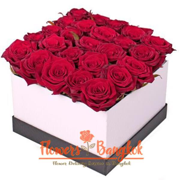 Flower box 25 Red Roses - Flowers-Bangkok
